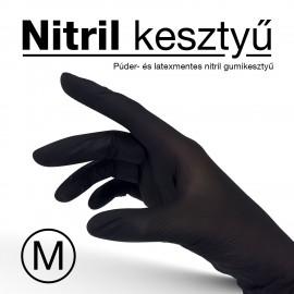 Nitril anyagú, eldobható, fekete gumikesztyű - M-es méret - 10 db/csomag