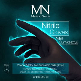 Nitril gumikesztyű - Púder- és latexmentes, eldobható fekete - S-es méret - 50 db/doboz