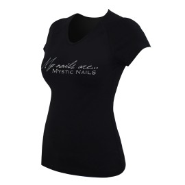 Mystic Nails Glamour Black T-shirt - Big Logo - M